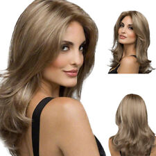 Women Medium Long Wig Ombre Blond Wave Curly Full Hair Wigs Cosplay Synthetic