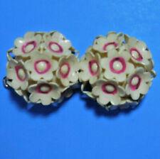 2 Vintage Plastic Flower Bouquet Buttons White Pink