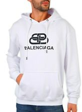 Balenciaga hoodie sweater WHITE  bb INTERLOKING fleece XL size men' authentic