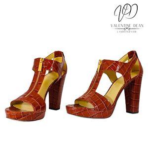 Michael Kors Berkeley Women's Heeled Sandals Brandy Embossed Croc Size 6 Uk
