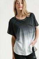 Umgee Black/White Dip Dye Short Sleeve Tie Dye Top Size Small Medium Large