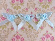 "40 Satin Ribbon Flower Rose Bow 1.5""/Craft/trim/sewing/doll/light F22-Baby Blue"