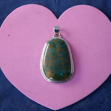 Superb 925 Silver Pendant With Real Turquoise Gem  19.3 Gr. 7 x 4 Cm.Wide In.Box