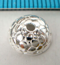 2x BRIGHT STERLING SILVER ROUND FLOWER BEAD CAP 9.5mm #1771