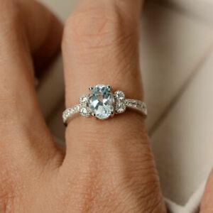 14K White Gold 1.70 Ct Natural Diamond Real Aquamarine Rings Size H I J