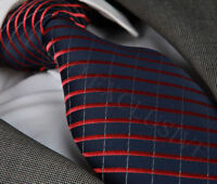NEW ITALIAN DESIGNER BLACK & BURGUNDY STRIPED SILK TIE (HANKY)