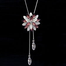 Rhinestone Wedding Pink Crystal Cats Eye Snowflake Sweater Chain Pendant Jewelry