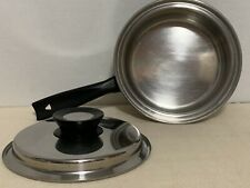 "Queens Choice 8"" Skillet w/ Lid T304S Stainless Steel Vintage Induction Gas Elec"
