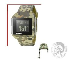 DIESEL MEN'S ARMY COLOR DIGITAL LCD RUBBER BAND WATCH DZ1714