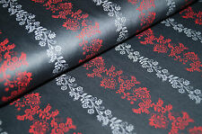 2051/412 Dirndlstoff Trachtenstoff Tracht Anthrazit hellgrau rote Blütenranken
