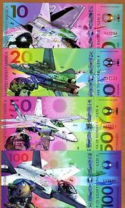 USA, Set, $10;20;50;100 Private Issue Polymer, 2017 > Military Fighter Jets