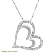 "0.40 Ct. Heart Brilliant Round Cut Solid 14K White Gold Pendant 16"" Necklace"