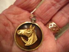 raised relief gold colored horse 1 horsehead pendant .cameo intaglio vintage