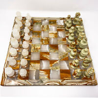 "VTG Marble 14""+ Chess Set Board w/ Carved White/Pink & Green/Brown Stone Pieces"