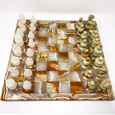 """VTG Marble 14""""+ Chess Set Board w/ Carved White/Pink & Green/Brown Stone Pieces"""