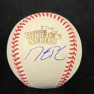 DUSTIN PEDROIA signed 2013 WS Baseball PSA/DNA Boston Red Sox autographed
