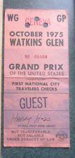 New listing 1975 Watkins Glen F1 race ticket pass Paddock USGP Niki Lauda Formula 1