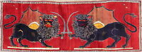 Collectible One-of-a-Kind ANIMAL LION PICTORIAL Gabbeh Hand-made Runner Rug 3x10