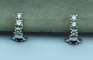 3/4cttw DIAMOND 3 stone earrings H-I SI3-I1 18kt white gold PAST PRESENT FUTURE