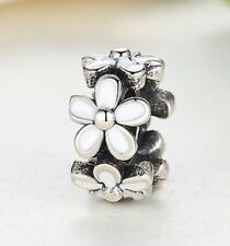 Sterling Silver White Darling Daisies Style Flower Spacer Charm For Bracelets