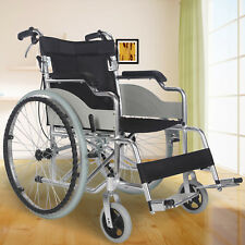 Ultra Lightweight Aluminium Folding Self-Propelled Travel Wheelchair W/Lap Belt