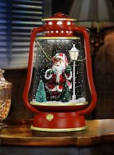 Snowing Barn Lantern With Lights And Sounds - Red & Gold Santa Design (IDI9630)