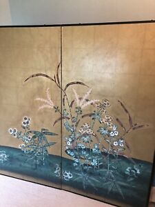 Beautiful Hand Painted Floral Bi-fold Screen
