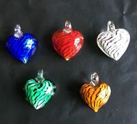 new Handmade Lampwork Glass Murano colors stripe heart Pendant Necklace Girl