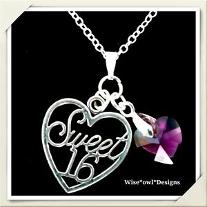 Sweet 16 heart 16th birthday gift necklace. Sterling silver chain with gift box.