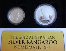 2012 2 X 1 OZ FINE SILVER AUSTRALIA KANGAROO $1 COINS 1 IN HIGH RELIEF BOX + COA