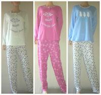Ladies Printed Pattern Long Sleeve Fleece Pyjamas Cotton PJ Set Size 10 - 22