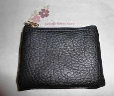 Black - Leather Textured (Vinyl) Zipper Rosary or Chaplet Pouch with Lining