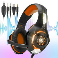Gaming Headset LED 3.5mm Stereo Bass Surround Headphone Mic For PS4/Xbox One/PC