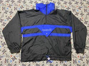 Reebok 1/4 Zip Windbreaker Jacket VTG Small Black 90s