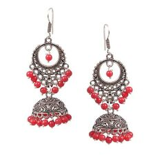 Traditional Silver Plated Oxidized jhumka jhumki Red Beads Earrings