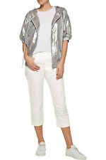 adidas Y-3 by Yohji Yamamoto Womens Cropped Pants Capri White Jacquard Cotton L