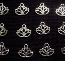8 Lotus Flower Charms Meditation Yoga Silver Tone Metal