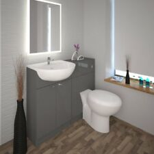 Bathroom Cloakroom 1000mm Yubo Grey Vanity Basin and Toilet Unit With-out Tap