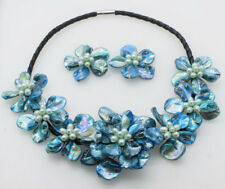 """freshwater pearl shell flower blue18"""" necklace nature wholesale beads earrings"""