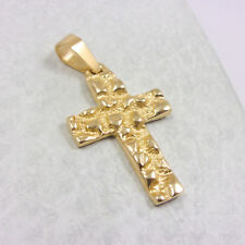 NEW Solid 14K Yellow Gold Mens Nugget Cross Crucifix Pendant Charm, 3.2 grams