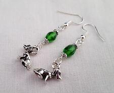 Cute dog earrings - green and Tibetan silver