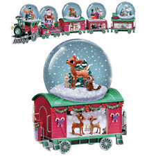 Rudolph The Red Nosed Reindeer Snowflake Water / Snow Globe Dome Train # 3 Only