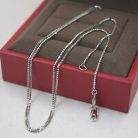"Real Pt950 Pure Platinum 950 Perfect Box Chain Woman's Fashion Necklace 17.7""L"