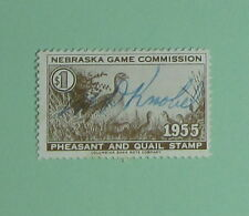 1955 Nebraska Game Bird Habitat Quail Hunting Stamp License...Free Shipping!