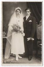 PHOTO ANCIENNE Mariage Marié 1938 Amann Gernsbach Fleur Costume de mariés Voile