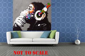 Monkey Framed Canvas Art Painting Print dj chimp  60cm x 60cm