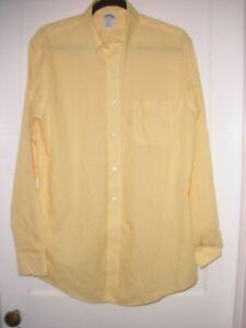 Brooks Brothers Yellow Gingham Non Iron Supima Cotton Dress Shirt 15.5 x 34