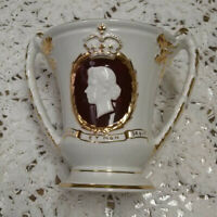 """Silver Jubilee 1952-1977 Cup with 2 Handles, Burleigh, Staffordshire, 6"""" Tall"""