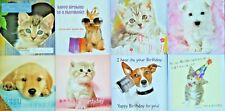 Pack of 8 Assorted Cute Pet Cat Dog Birthday Greeting Cards For Him Her