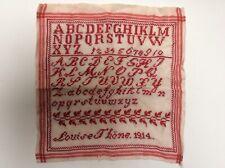 Rotstickerei sehr altes Mustertuch 1914 Alphabet ABC Zahlen